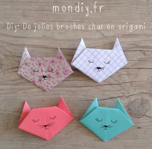 broches chat origami diy