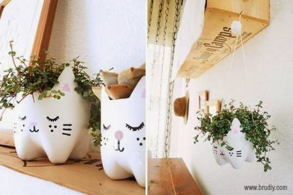 pot de fleurs chat diy