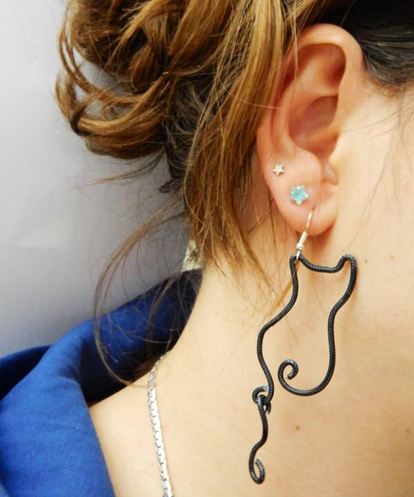 boucles d'oreilles chat